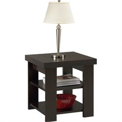 Ameriwood Hollow Core Square Wood End Table in Black Forest