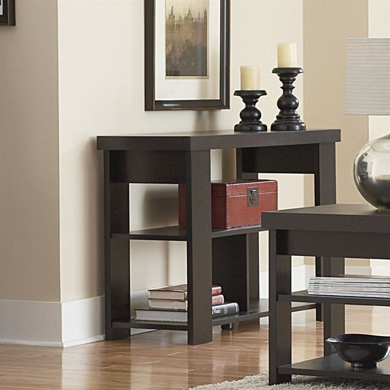 Ameriwood Hollow Core Wood Sofa Table in Black Forest