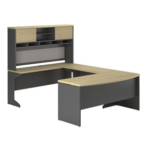 U-Shape Computer Desk in Natural and Gray
