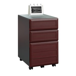 3 Drawer File Cabinet in Cherry and Gray