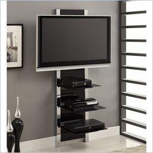 Modern Metal TV Stand with Glass and Chrome