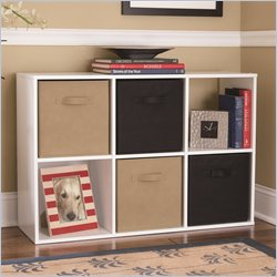 Ameriwood 6 Cube Wood Bookcase in White