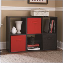 Ameriwood 6 Cube Wood Bookcase in Black