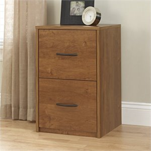 2 Drawer Wood Vertical File Cabinet in Oak