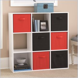 Ameriwood 9 Cube Wood Bookcase in White