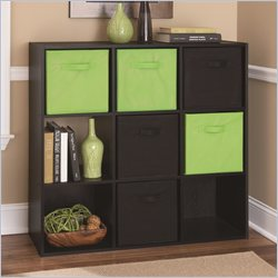 Ameriwood 9 Cube Wood Bookcase in Black