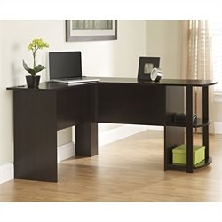 Ameriwood L-Shaped Desk in Dark Russet Cherry