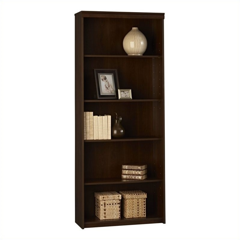 Ameriwood 5 Shelf Wood Bookcase in Cherry