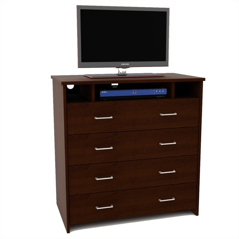 Ameriwood 4 Drawer Media Chest in Mahogany