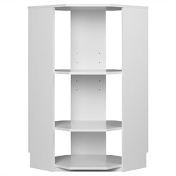 Ameriwood SystemBuild 3 Shelf Corner Wood Bookcase in White