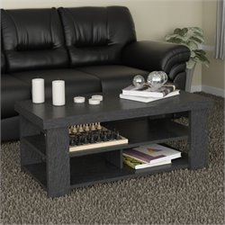 Ameriwood Hollow Core Coffee Table in Black Ebony Ash