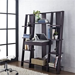 Bookcase with Desk in Espresso Finish
