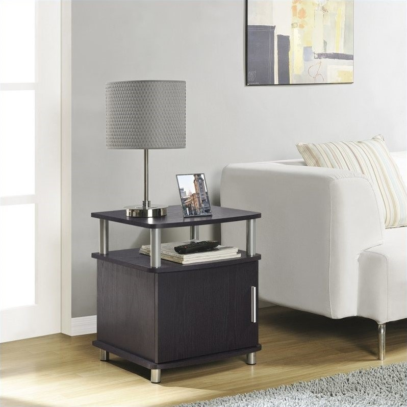 End Table with Storage in Espresso Finish
