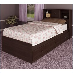 Ameriwood 3 Drawer Storage Twin Mates Bed in Dark Russet Cherry