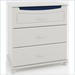 Ameriwood 3 Drawer Dresser in White Stipple