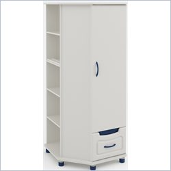 Ameriwood Corner Wardrobe in White Stipple
