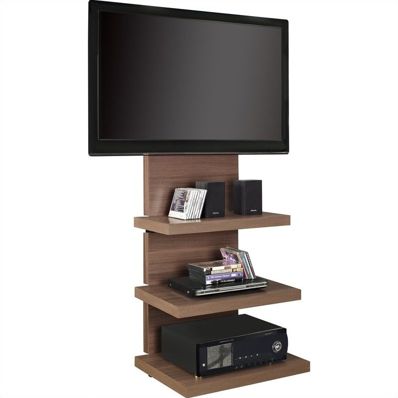 Hollow Core Mount TV Stand in Walnut