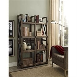 Rustic Bookcase Room Divider with Metal Frame
