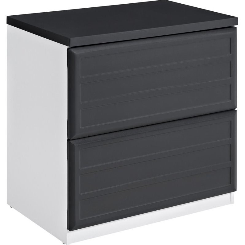 Altra Furniture Pursuit 2 Drawer File Cabinet in White and Gray