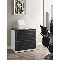 2 Drawer File Cabinet in White and Gray