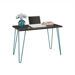 Desk in Espresso with Teal Metal Legs