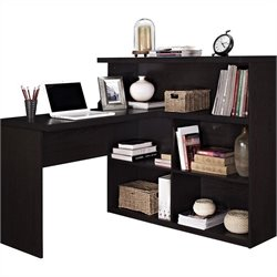 Sit Stand L Shaped Desk in Espresso