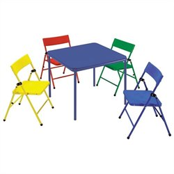 5 Piece Kids Metal Folding Table Set
