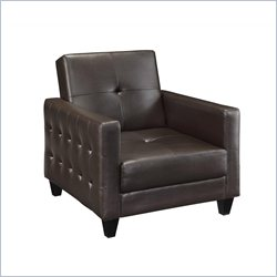 DHP Premium Rome Leather Convertible Futon Sofa Chair in Brown