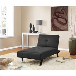 DHP Wynn Convertible Leather Chaise Lounge in Black