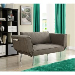 Euro Futon Sofa in Gray Linen