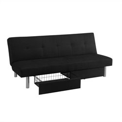 Convertible Sofa with Storage in Black Microfiber