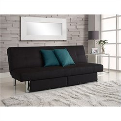 Sola Convertible Sofa with Storage in Black Microfiber