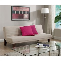 DHP Dillan Upholstered Convertible Sofa in Tan Mircrofiber