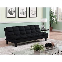 Allegra Pillow-Top Convertible Futon Sofa in Black