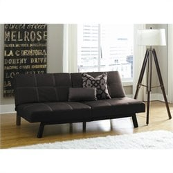 Delaney Faux Leather Convertible Sofa in Black