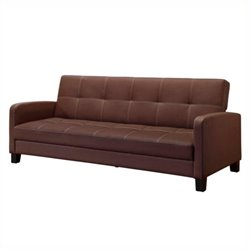 Faux Leather Convertible Sofa in Brown