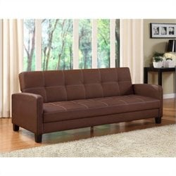 Delaney Faux Leather Convertible Sofa in Brown