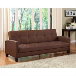 DHP Delaney Leather Convertible Sofa in Brown