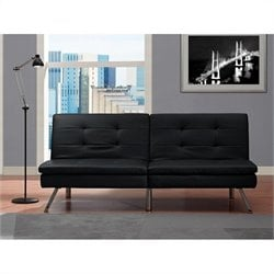 Faux Leather Convertible Sofa in Black