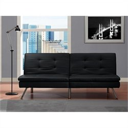 Chelsea Faux Leather Convertible Sofa in Black