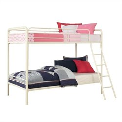 DHP Metal Bunk Bed in White - Twin Over Twin