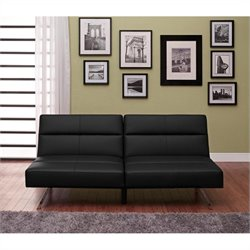 DHP Studio Faux Leather Convertible Sofa in Black