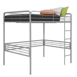DHP Full Metal Loft Bed in Silver