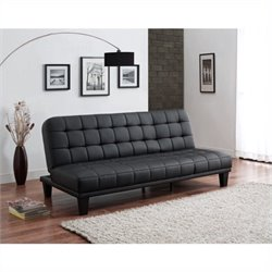 DHP Metropolitan Faux Leather Convertible Sofa in Black