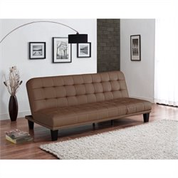 DHP Metropolitan Faux Leather Convertible Sofa in Camel Tan