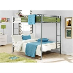DHP Full over Full Metal Bunk Bed in Silver