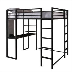 DHP Abode Full Size Metal Loft Bed in Black
