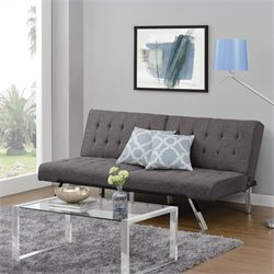Emily Convertible Linen Futon in Gray