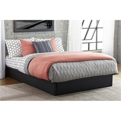 DHP Maven Leather Upholstered Platform Bed in Black