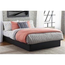 Maven Leather Upholstered Platform Bed in Black